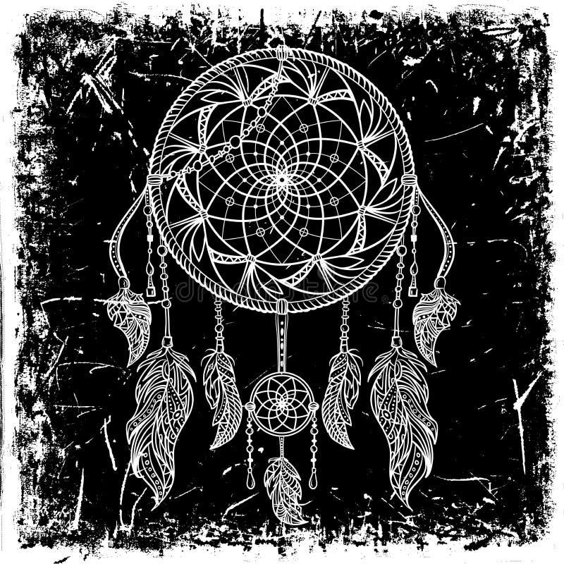 Wymarzony łapacz z ornamentem na grunge tle Tatuaż sztuka Retro sztandar, karta, złomowa rezerwacja, koszulka, torba, druk, plaka ilustracja wektor