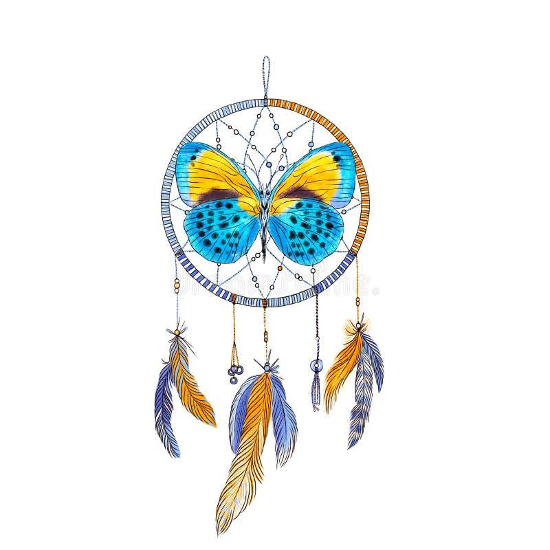Wymarzony łapacz z piórkami i motyl odizolowywający na białym tle szczotkarski węgiel drzewny rysunek rysujący ręki ilustracyjny  ilustracji