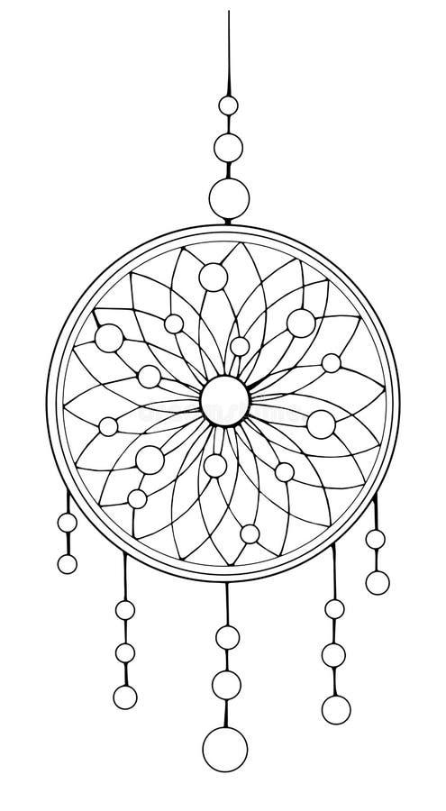 wymarzony łapacza hindus Amerykańscy indianie Etniczna nakreślenie stylu ilustracja royalty ilustracja