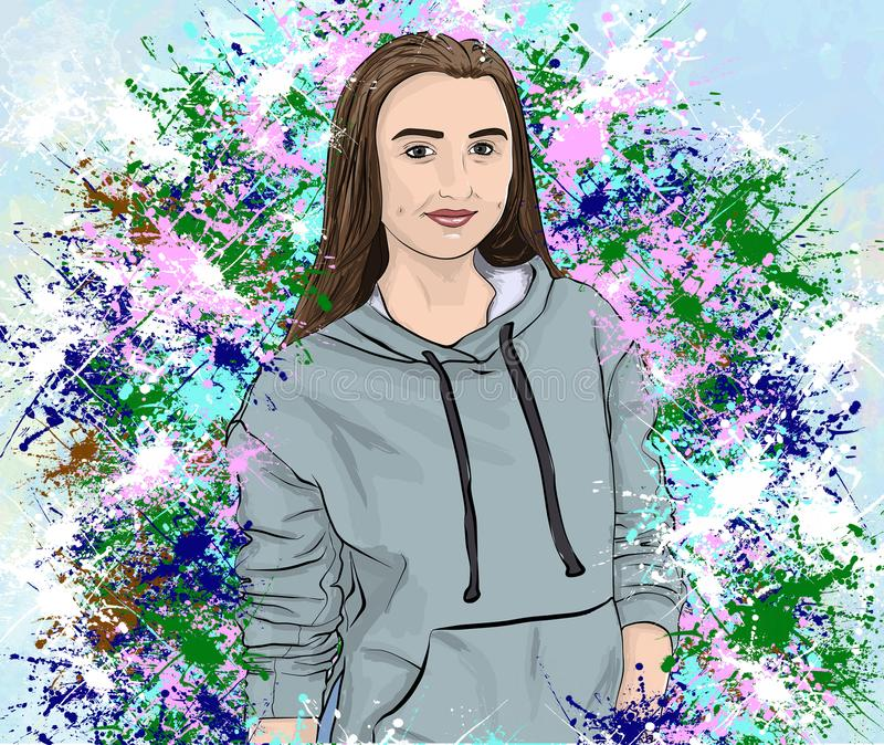 Wymarzony sztuka portret dziewczyna ilustracja wektor