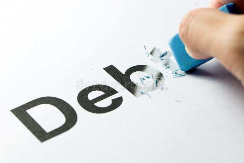Wymazujący dług lub kasujący obraz stock
