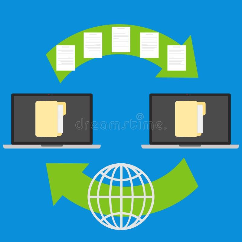 Wymiana informacja między komputerami royalty ilustracja