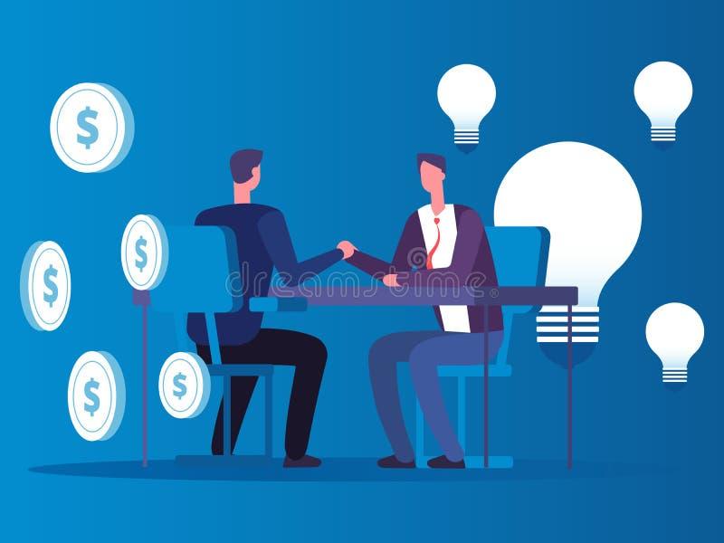 Wymiana pomysły dla pieniądze, biznesmen kupuje pomysłu wektoru pojęcie royalty ilustracja