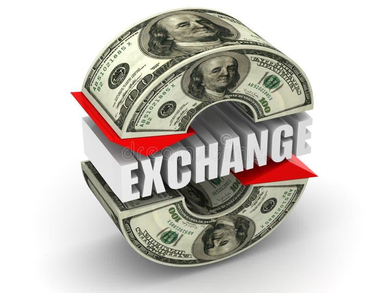 Wymiana walut. dolar ilustracji