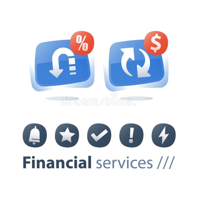 Wymiana walut, gotówka z powrotem, pieniądze powrót, finanse usługa, szybka pożyczka, refinansuje pojęcie, kredytowa płatnicza za ilustracji
