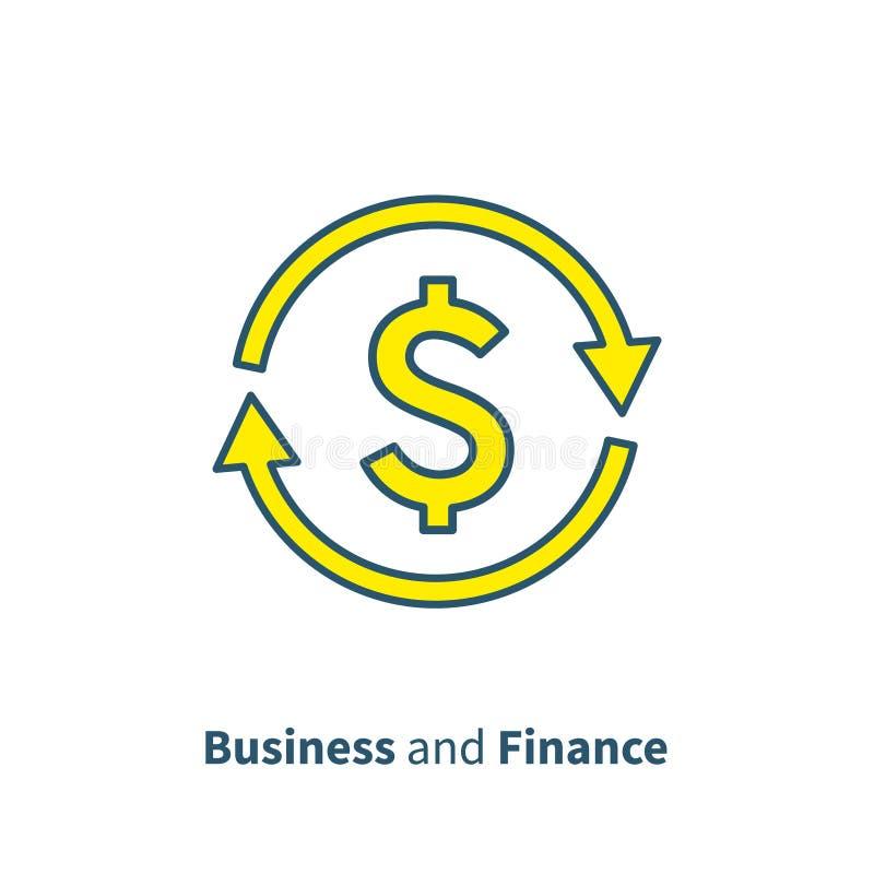 Wymiana walut, gotówka z powrotem, szybka pożyczka, asekuracyjny pojęcie, funduszu zarządzanie, biznesowy rozwiązanie, finanse us royalty ilustracja