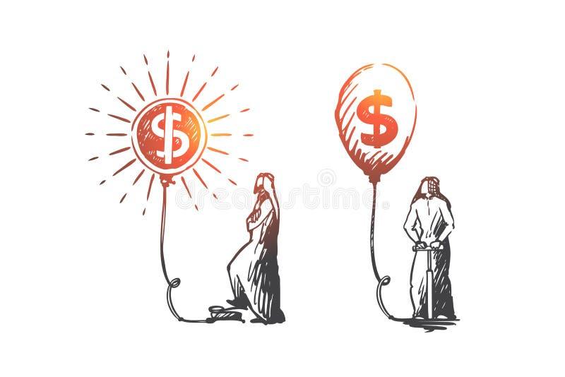 Wymiana walut, inwestycje, kapitałowa akumulacja, Muzułmański pojęcie Ręka rysujący odosobniony wektor royalty ilustracja