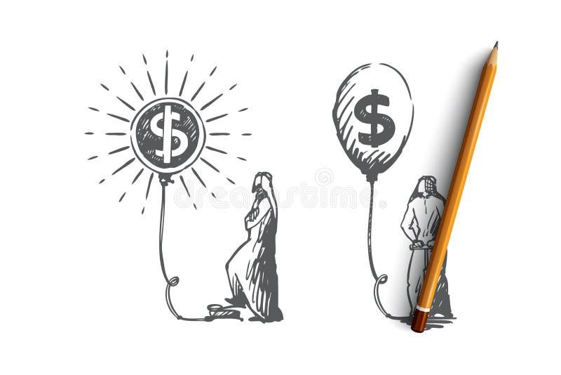 Wymiana walut, inwestycje, kapitałowa akumulacja, Muzułmański pojęcie Ręka rysujący odosobniony wektor ilustracji