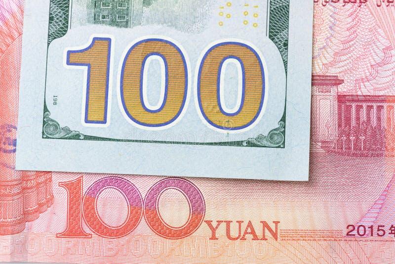 Wymiana walut między Chiny i Ameryka zamykającymi up 100 USA, zdjęcie royalty free
