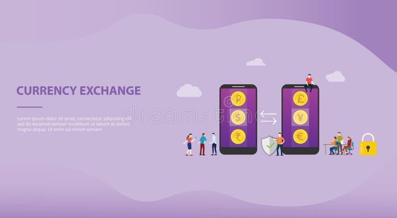 Wymiana walut pieniądze pojęcie z mobilnymi smartphone apps z opcja biznesu technologią dla strony internetowej lądowania lub sza royalty ilustracja