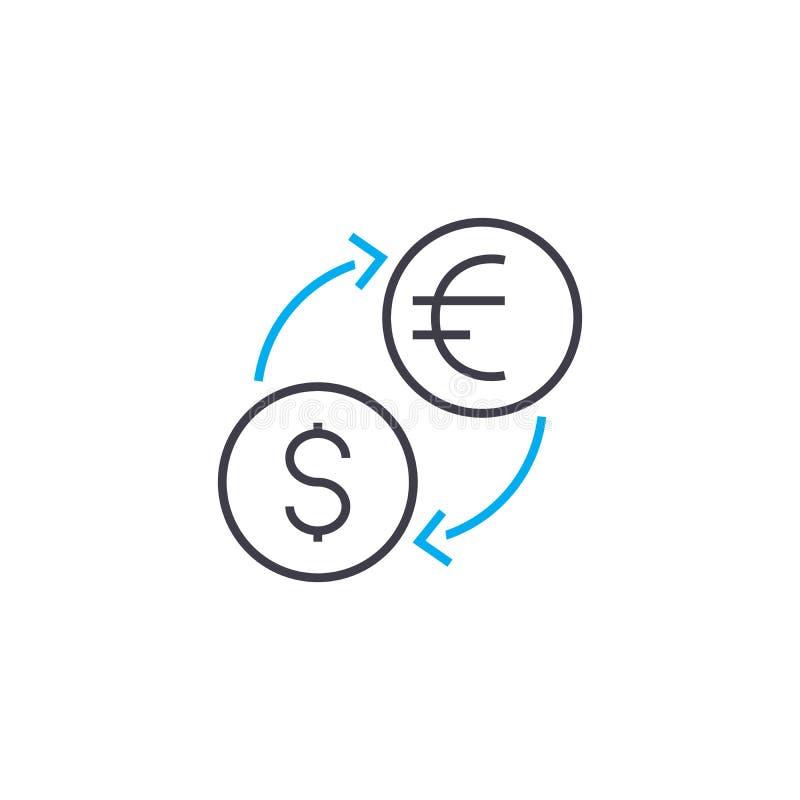 Wymiana walut wektoru uderzenia cienka kreskowa ikona Wymiana walut konturu ilustracja, liniowy znak, symbolu pojęcie royalty ilustracja