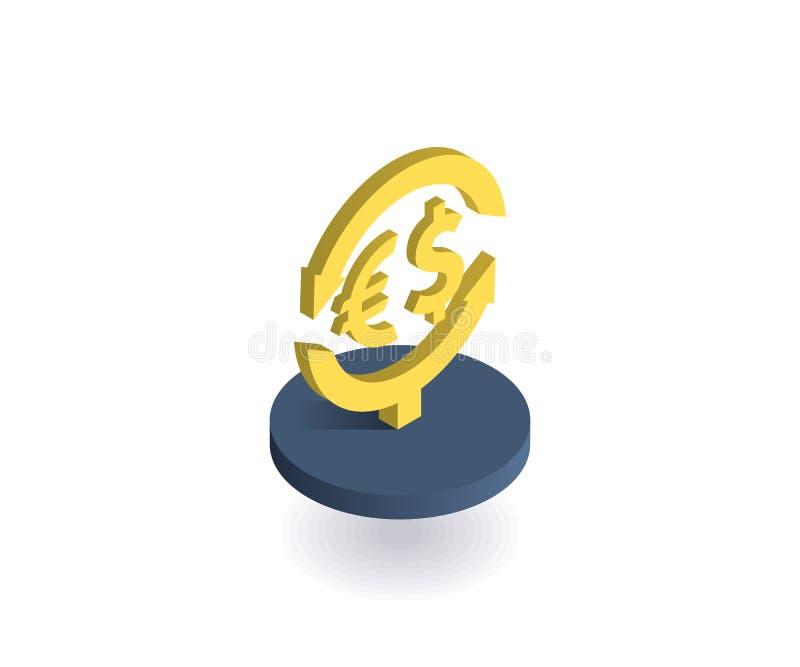 Wymiany walut ikona Wektorowa ilustracja w płaskim isometric 3D stylu ilustracja wektor