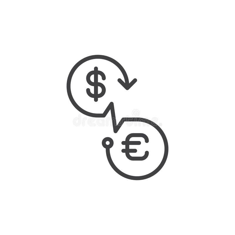 Wymiany walut kreskowa ikona, konturu wektoru znak, liniowy stylowy piktogram odizolowywający na bielu royalty ilustracja