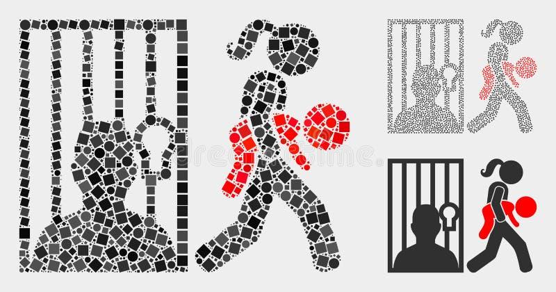 Wymiar Sprawiedliwości Nieletni ikony kolaże kwadraty i okręgi royalty ilustracja