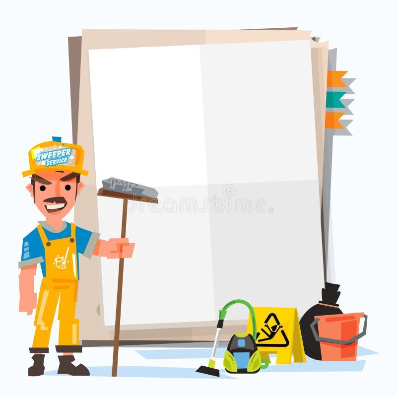 Wymiatacz lub czysty mężczyzna z nutowym papierem dla prezentaci Dlaczego ilustracja wektor