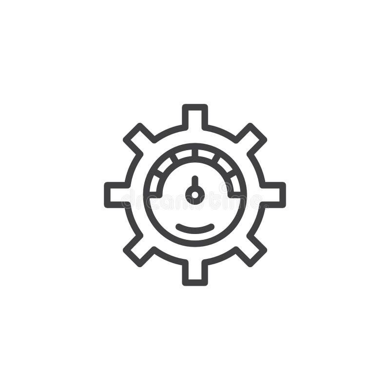 Wymiernik przekładni konturu ikona ilustracji