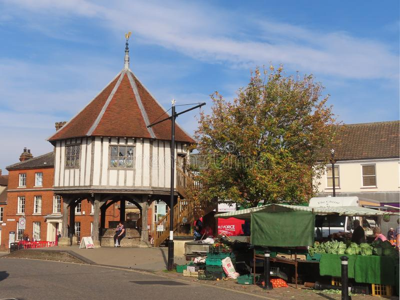 Wymondham Market Cross. The Market Cross is a timber-framed structure erected in 1617-1618 following the destruction of its predecessor in 1615. The building stock photography