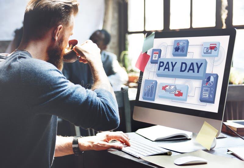 Wynagrodzenie dnia dochodu Pensyjny czek z wypłatą Prowadzi zapłaty pojęcie zdjęcia royalty free