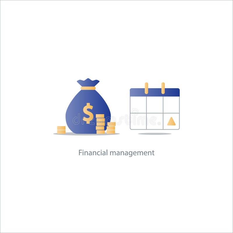 Wynagrodzenie dzień, miesięczna płatność, kalendarzowa czasu okresu ikona, budżetuje obrachunkowego plan ilustracja wektor