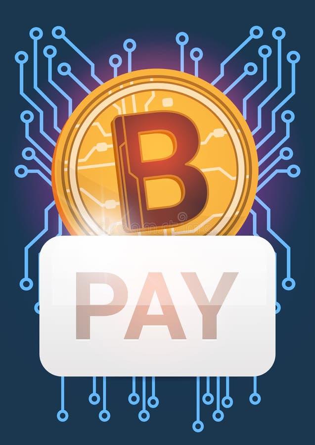 Wynagrodzenie guzik Nad Złotej Bitcoin ikony Cyfrowego Crypto waluty sieci pieniądze Nowożytnym pojęciem royalty ilustracja