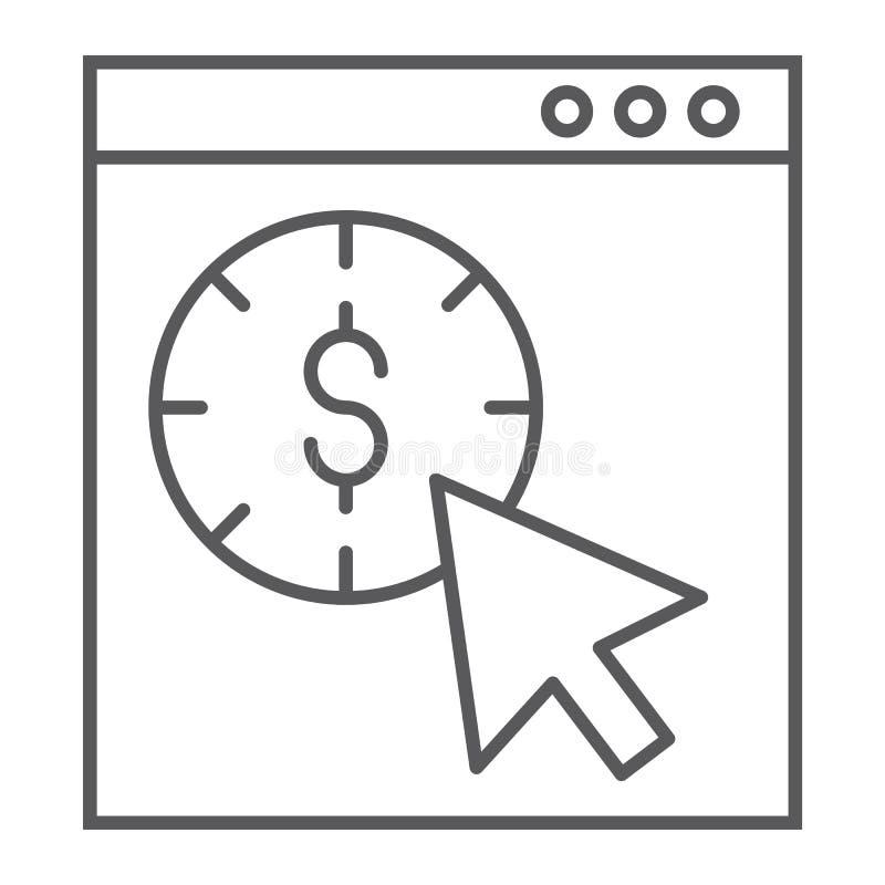 Wynagrodzenie na stuknięcie cienką kreskową ikonę, seo i pieniądze, pointeru znak, wektorowe grafika, liniowy wzór na białym tle royalty ilustracja