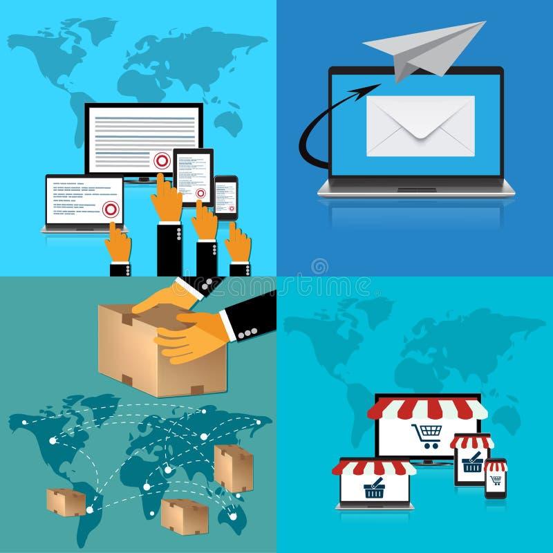 Wynagrodzenie na stuknięcie; dostawa, online zakupy; poczta dostawa; Wektorowa ilustracja w płaskim projekcie ilustracja wektor