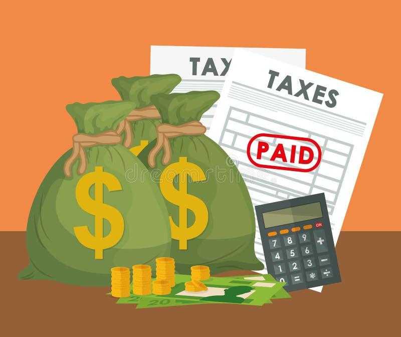 Wynagrodzenie opodatkowywa graficznego projekt ilustracja wektor