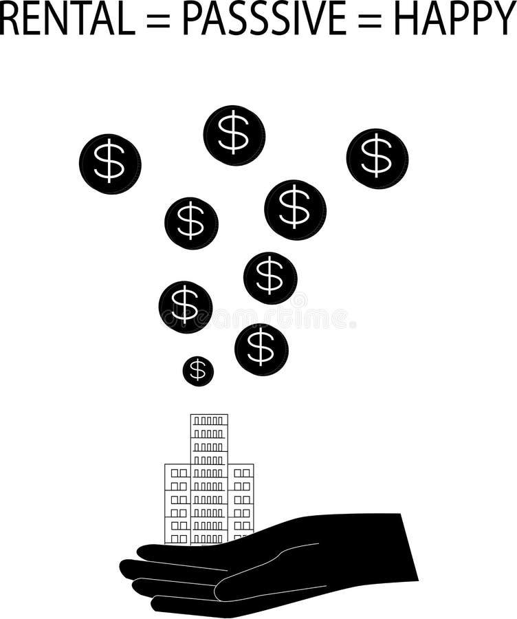 Wynajem Condo jest biernym dochodem dla firm i koncepcji wcześniejszego przechodzenia na emeryturę - wektor ilustracji