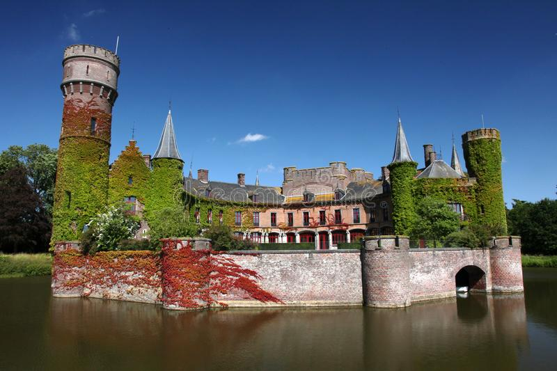 Summertime lake castle belgium. Wynendaele castle in the city of Torhout in Belgium royalty free stock photography