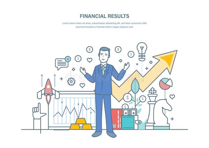 Wynik finansowy, pomyślne strategie biznesowe, narosłe sprzedaży dynamika, handlowy dobrobyt ilustracja wektor