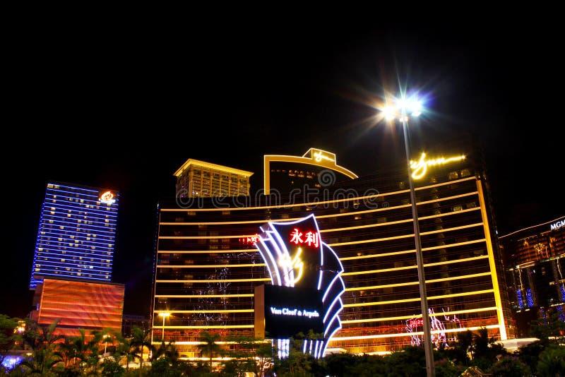 Wynn Casino Building At Night, Macau, China stock image