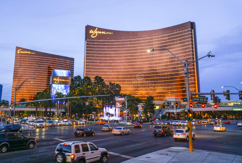 Wynn and Encore Hotel and Casino in the evening - LAS VEGAS - NEVADA - APRIL 23, 2017 royalty free stock image