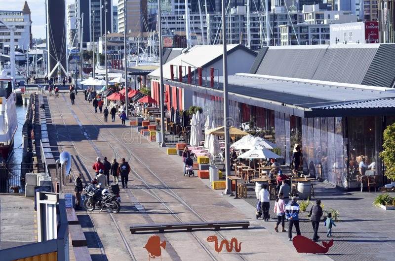 Wynyard Quarter Auckland - New Zealand. AUCKLAND - JUNE 01 2014:Visitors in Auckland Wynyard Quarter. Auckland has been rated one of the world's top 10 cities to stock images