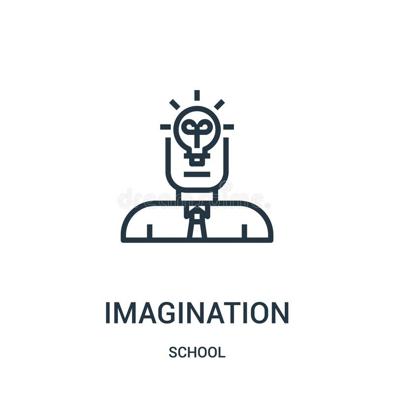 wyobraźni ikony wektor od szkolnej kolekcji Cienka kreskowa wyobraźnia konturu ikony wektoru ilustracja Liniowy symbol dla używa  ilustracji