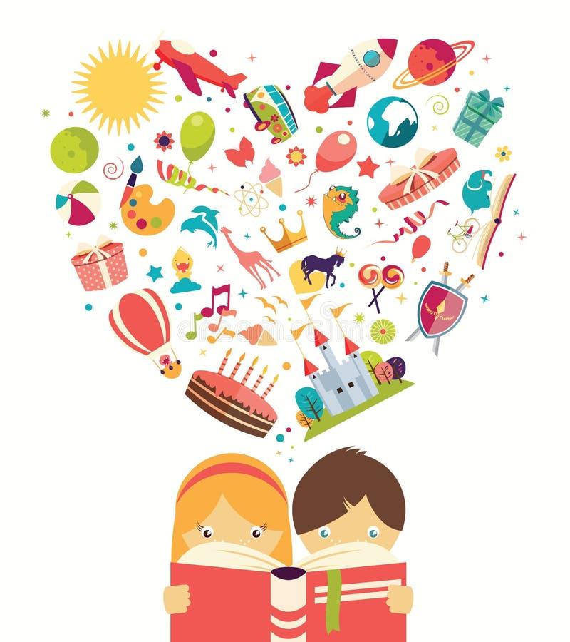 Wyobraźni pojęcie, chłopiec i dziewczyna czyta książkę, protestujemy latanie out royalty ilustracja