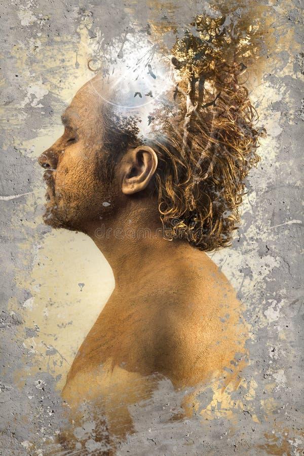 Wyobraźnia, mężczyzna nad textured tłem obrazy stock