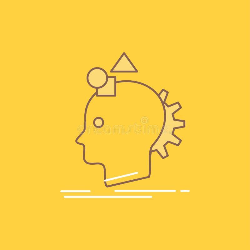 Wyobraźnia, polotna, wyobraża sobie, pomysł, proces linia Wypełniająca mieszkanie ikona Pi?kny logo guzik nad ? royalty ilustracja