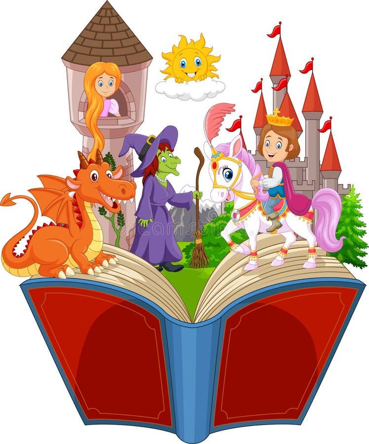 Wyobraźnia w dziecko ogonu fantazi czarodziejskiej książce ilustracja wektor