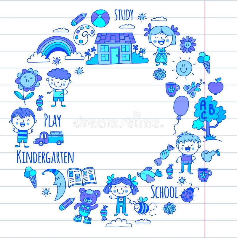 wyobraźnie eksploracja nauka Sztuka learn dzieciniec Dzieci dziecka daugther rysunkowego rodzinnego ojca dziadek babci dzieciaki  royalty ilustracja