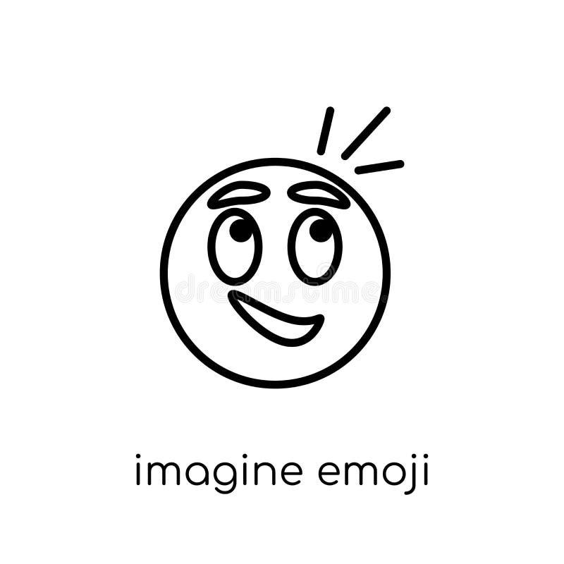 Wyobraża sobie emoji ikonę Modny nowożytny płaski liniowy wektor wyobraża sobie emo ilustracji