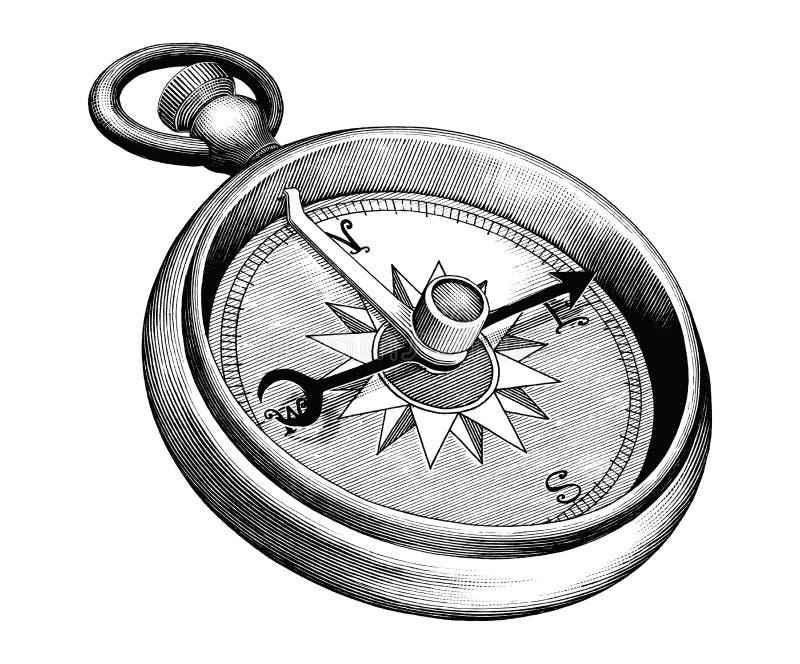 Wyodrębniona na białym tle antyczna, grawerowana ilustracja kompasu czarno-białego royalty ilustracja