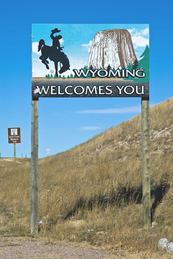 Wyoming border with Colorado royalty free stock image