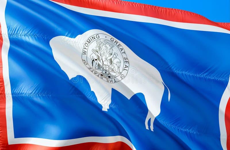 Wyoming flagga 3D som vinkar design för USA tillståndsflagga MedborgareUSA-symbolet av den Wyoming staten, tolkning 3D Nationell  royaltyfri bild