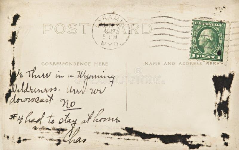 Wyoming Post Card. Handwitten post card from Laramie, Wyoming, USA dated 1917 stock image