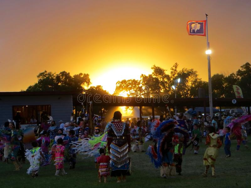 Wyoming Pow Wow at Sunset royalty free stock photo