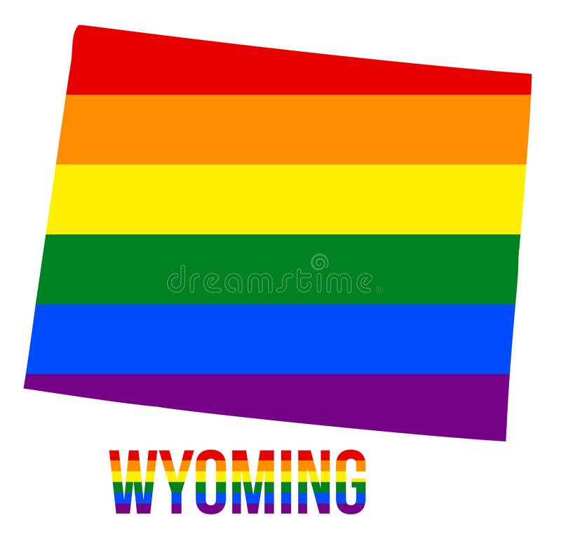 Wyoming State Map in LGBT Rainbow Flag Comprised Six Stripes With Wyoming LGBT Text. The Flag Comprised Six Stripes; Meaning to Each of The Colors: Life vector illustration