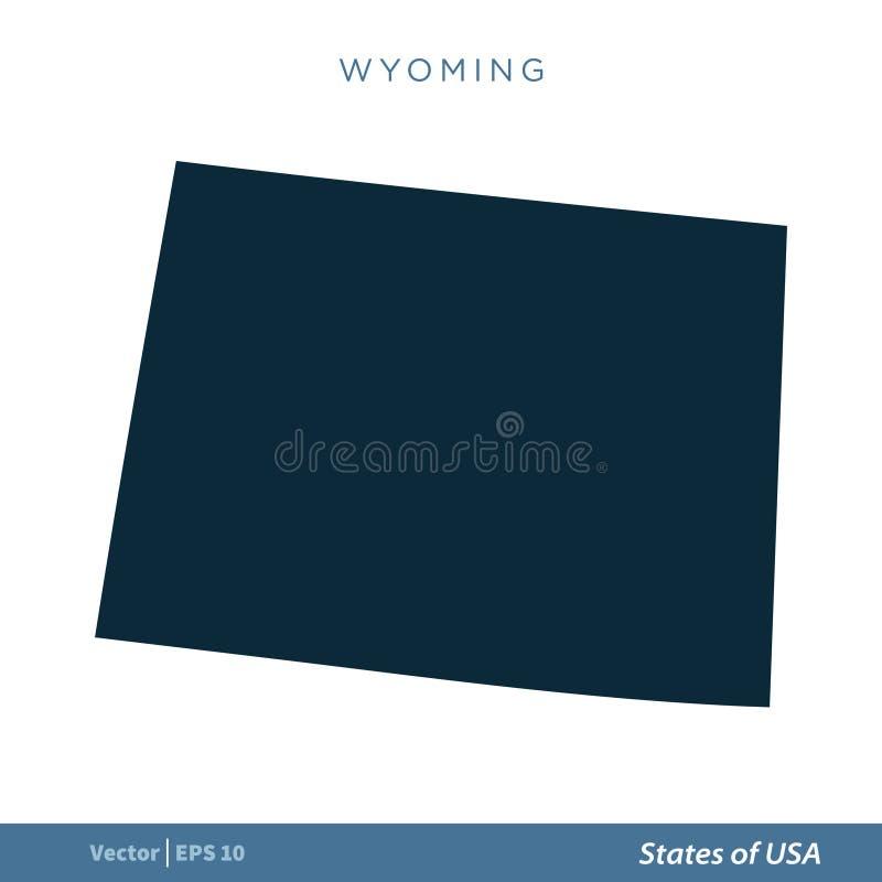 Wyoming - Staten van van het de Kaartpictogram van de V.S. Ontwerp van de het Malplaatjeillustratie het Vector Vectoreps 10 stock illustratie
