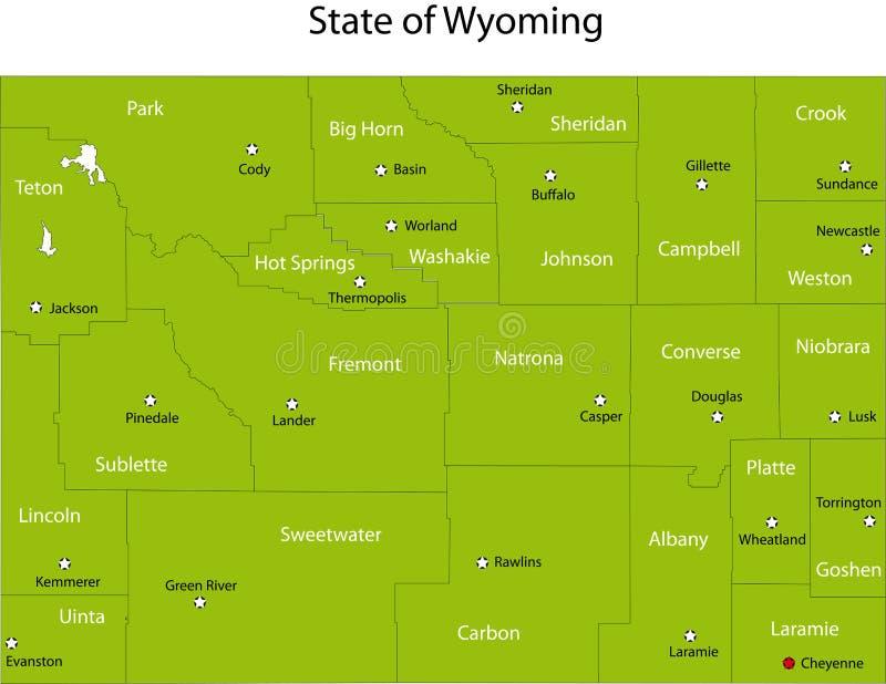 Wyoming tillstånd royaltyfri illustrationer