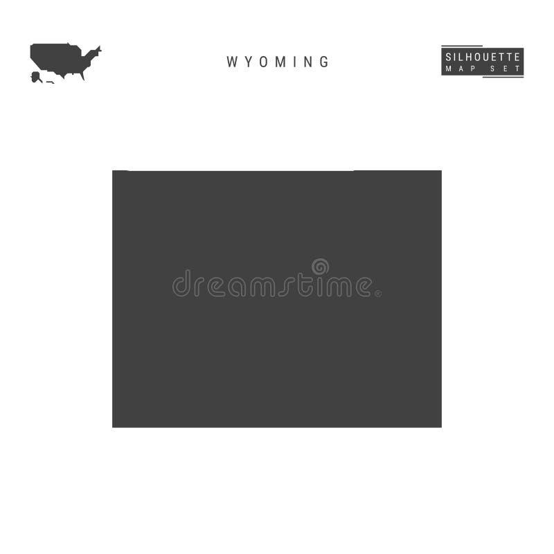 Wyoming USA påstår vektoröversikten som isoleras på vit bakgrund Hög-specificerad svart konturöversikt av Wyoming stock illustrationer