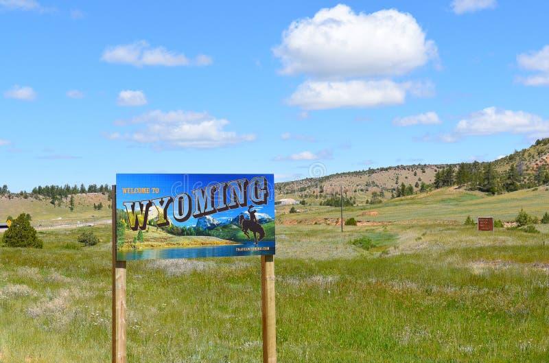 Wyoming välkommet tecken royaltyfria foton